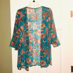 Blue and coral floral kimono/cardigan